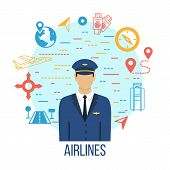 Pilot Profession Flat Icons With Captain. Airlines Travel Concept Icons Set With Pilot. Luggage, Tro poster