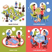 Isometric Design Concept With Kids Playing Board Games, Family Pastime, Desktop Field With Pieces Is poster