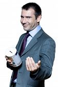 picture of cynicism  - Portrait of smiling expressive handsome businessman on stock market crisis in studio on isolated white background - JPG