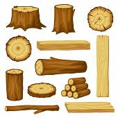 Set Of Wood Logs For Forestry And Lumber Industry. Illustration Of Trunks, Stump And Planks. poster