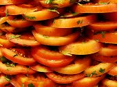 Sliced Tomatoes With Parsley. Sliced Tomatoes. Tomatoes Cut Into Slices For Salad poster