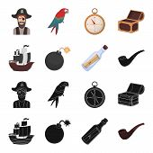 Pirate, Bandit, Ship, Sail .pirates Set Collection Icons In Black, Cartoon Style Vector Symbol Stock poster