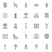 Electrician Elements Outline Icons Set. Linear Style Symbols Collection, Line Signs Pack. Vector Gra poster