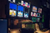 Blurred Picture Video Switch Of Television Broadcast, Working With Video And Audio Mixer, Control Br poster