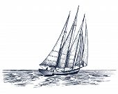 Sailboat In The Sea, Summer Adventure, Active Vacation. Seagoing Vessel, Marine Ship Or Nautical Car poster