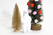 Christmas Tree Decorated With Golden Fir And Bear poster