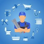 Plumbing Service Infographics Repair And Cleaning With Plumber, Tools And Device Two Color Flat Icon poster