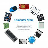 Cartoon Pc Components For Computer Store Banner Card Circle Technology Concept Flat Design Style Inc poster