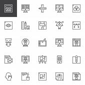 Design And Creative Outline Icons Set. Linear Style Symbols Collection, Line Signs Pack. Vector Grap poster