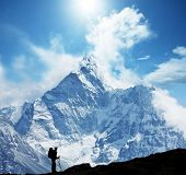 stock photo of mountain-climber  - Climber in Himalayan mountain - JPG