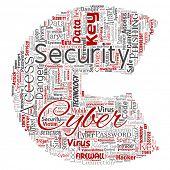 Conceptual cyber security online access technology letter font C word cloud isolated background. Col poster