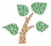 Plant Tree Collage Of Dollar Symbols. Vector Dollar Currency Pictograms Are United Into Plant Tree C poster