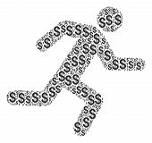 Running Man Collage Of Dollars. Vector Dollar Pictograms Are Combined Into Running Man Collage. poster