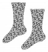 Socks Composition Of Dollar Symbols. Vector Dollar Currency Icons Are Grouped Into Socks Collage. poster