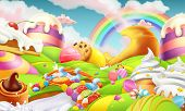 Sweet Landscape. Candy Land. Candies And Milk River 3d Vector Background poster