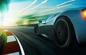 Motion Blurred Racetrack,sunset Scene poster