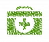 stock photo of first aid  - illustration of First aid symbol with isolated on green background - JPG