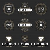Luxury Logos Templates Set, Flourishes Calligraphic Elegant Ornament Lines. Business Sign, Badges An poster