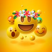 Realistic Yellow Emoticons With Flower On Head, Summer Concept, Emoji With Wreath Flowers On Head, V poster