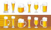 picture of alcoholic beverage  - set of beer mugs with a light beer - JPG