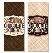 Vector Vertical Banners For Chocolate Candy, Pile Of Swiss Praline, Belgian Bonbons Covered Of Milk  poster