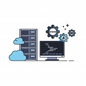 Administration Of Server And Cloud Hosting Service. Vector Illustration In Flat Outline Style. poster