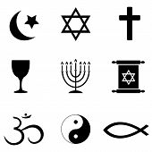 stock photo of ohm  - Religious symbols around the world icon set - JPG