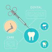 Dental Care Banner With Medical Instruments And Teeth Symbols. Dentistry Vector Illustration. Dental poster