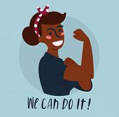 We Can Do It Poster. Strong African American Girl. Classical American Symbol Of Female Power, Woman  poster