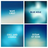 Abstract Vector Beach Blurred Background Set. 4 Colors Set. Square Blurred Sea Backgrounds Set - Sky poster