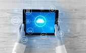 Hand touching tablet with cloud computing and online storage concept poster