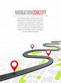 Navigation Concept With Pin Pointer Illustration. Map Marker Pointer On Road Map. Gps Navigation Sys poster