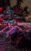 Panoramic Picture Of Christmas Lights All Around The Bridge, Trees, Signs, Posts Houses And Lights A poster