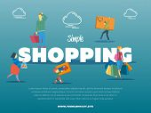 Simple Shopping Banner With People poster