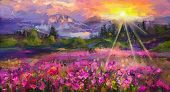 Abstract Colorful Oil Painting Purple Cosmos Flower, Rhododendron Flowers, Wildflower In Field. Viol poster