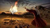 Moses And The Burning Bush. Story Of Book Of Exodus In Bible. The Shrub Was On Fire, But Was Not Con poster