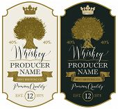 Set Of Vector Labels For Whiskey Premium Quality In The Figured Frame With Oak Tree, Crown, Ribbon A poster