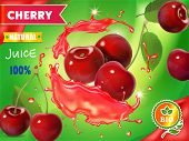 Cherry Fresh Juice Advertising. Splash Of Juice. 3d Realistic Vector Package Design poster