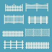 Vector Illustration Set Of Different Fences White Color. Rural Silhouettes Wooden Fences, Pickets Ve poster