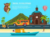 Urban Landscape With Landmarks Of Philippines. Banner Journey And Trip Philippines, Traditional Land poster