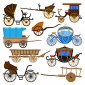 Carriage Vector Vintage Transport With Old Wheels And Antique Transportation Illustration Set Of Roy poster