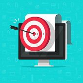 Target On Computer Display Vector, Concept Of Success Business Aim Or Goal, Digital Marketing Promot poster