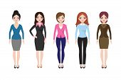 Young Girl Standing In Different Casual Clothes Isolated. Businesswoman In Dress And Pants Vector Se poster