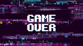 Game Over Fantastic Computer Background With Glitch Noise Retro Effect Vector Screen. Game Over Pixe poster