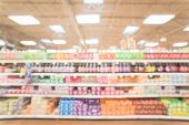 Blurred Abstract Soft Drinks Aisle In American Store poster