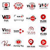 Vlog Video Channel Logo Icons Set. Simple Illustration Of 16 Vlog Video Channel Logo Vector Icons Fo poster