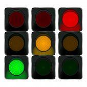 Traffic Lights, Red Light, Orange Light, Green Light. Vector Illustration poster