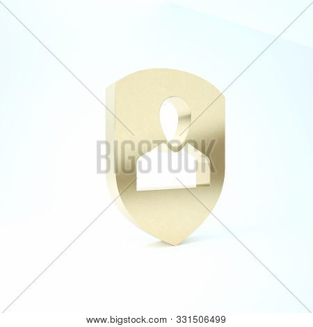 poster of Gold User Protection Icon Isolated On White Background. Secure User Login, Password Protected, Perso