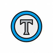 Text Sign, Copyright, Author Mark Flat Color Icon. poster