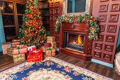 Classic Christmas New Year Decorated Interior Room Home Library With Fireplace. Christmas Tree With  poster